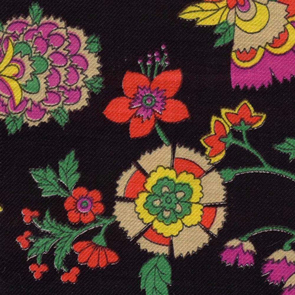 Vintage Fabric Black Background Flower Design 2 Yards