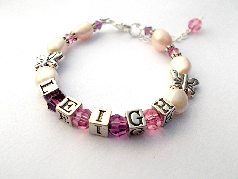 Baby bracelet, Child name bracelet, Christening, Baptism bracelet