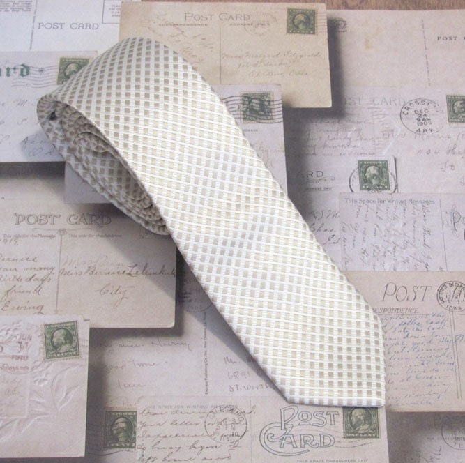 Light Taupe and White Skinny Silk Ties