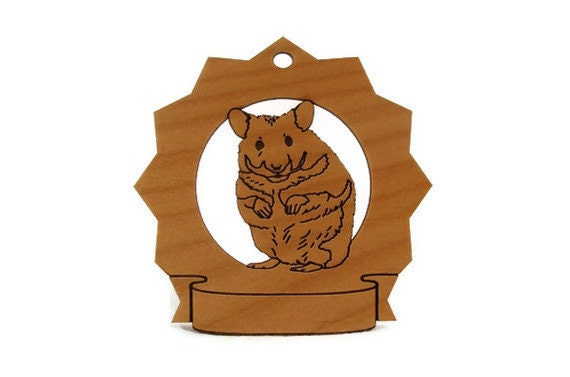 Hamster Personalized Wood Ornament Personalized with your Pet's Name - gclasergraphics