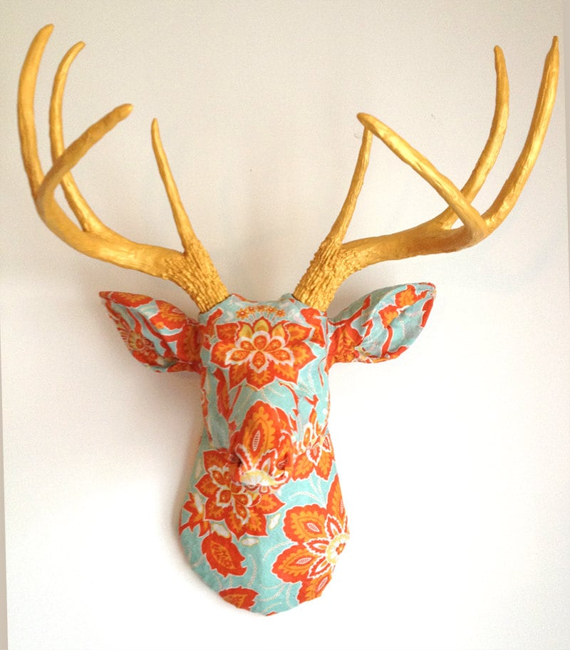 Ornate Floral Gold Antlers Deer Head Wall Mount Faux Taxidermy Bust - BananaTreeStudios