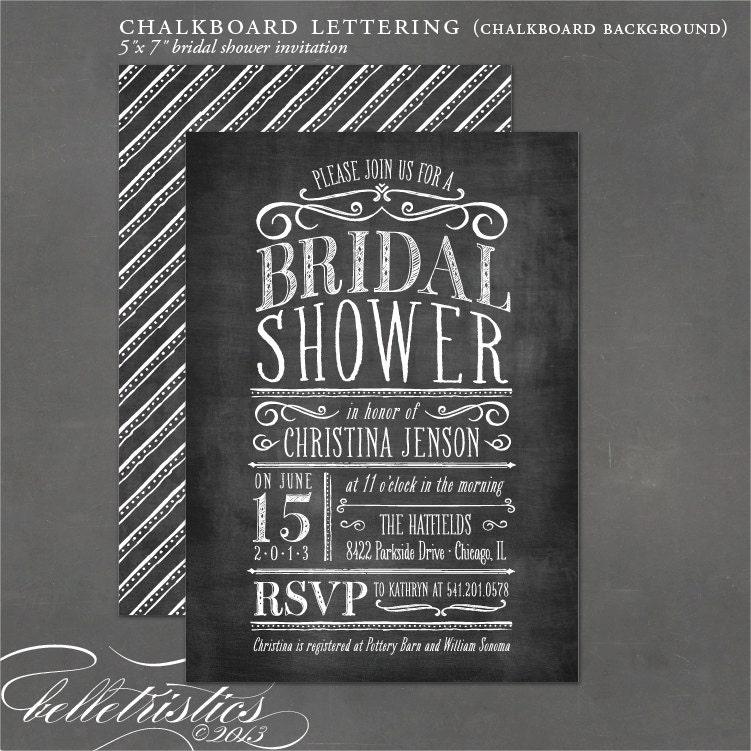 Chalkboard Bridal Shower Invitation DIY Print By