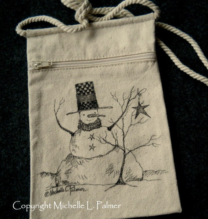 Snowman Winter Christmas Star Original Art Illustration on Natural Canvas Bag Tote Purse