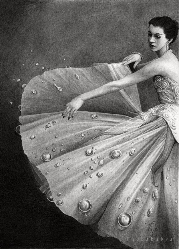White Morning vintage art PRINT, original graphite pencil drawing art, dancing girl, vintage girl print, fine print, home decor, Thubakabra - DrawingIllustration