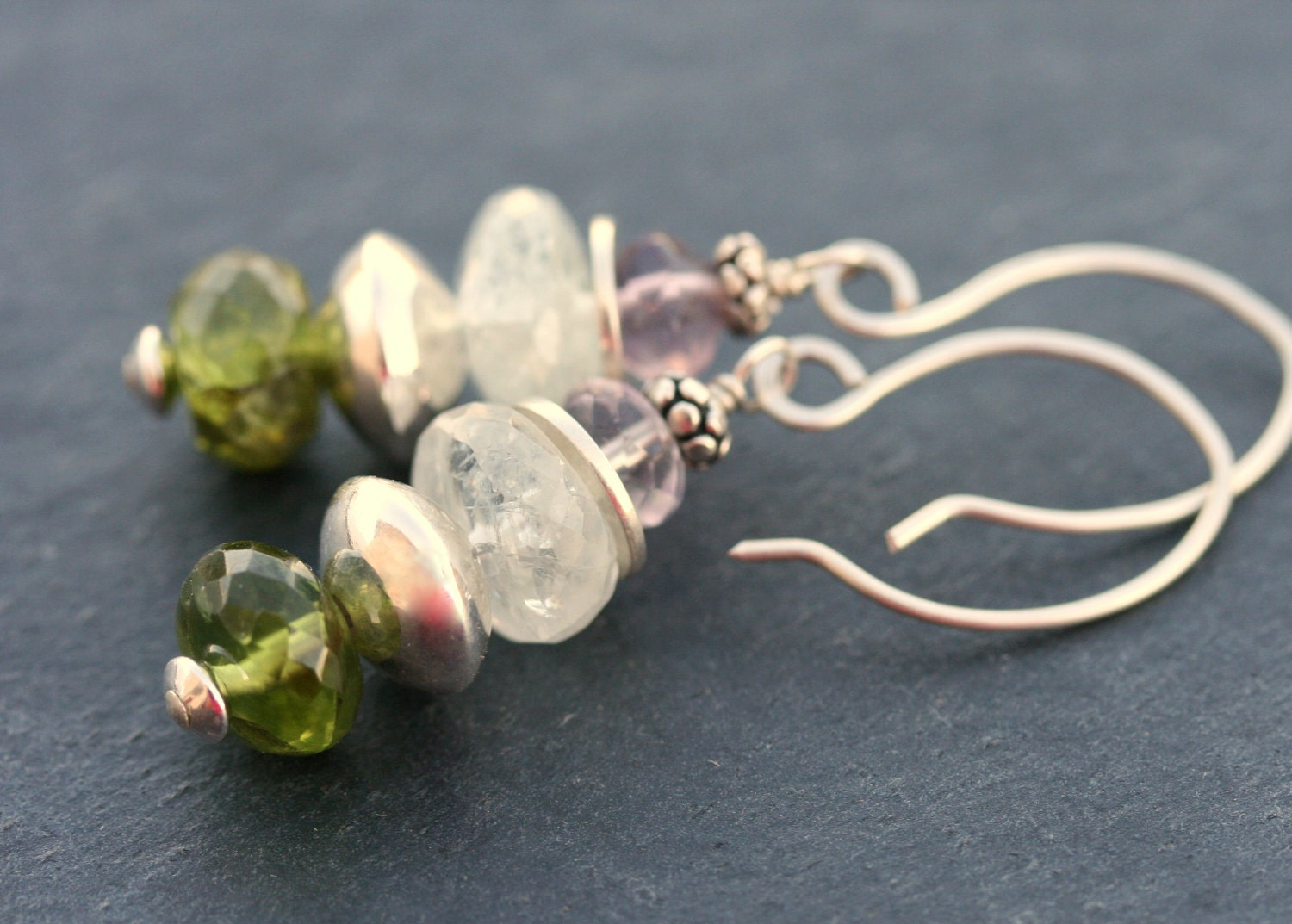Peridot, moonstone, flourite with sterling silver earrings