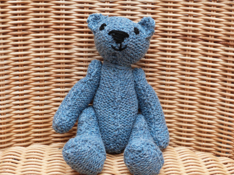8 Handmade little blue  teddy bear old fashioned blue Vintage Style Knitted Blue Teddy Bear in 100 Wool