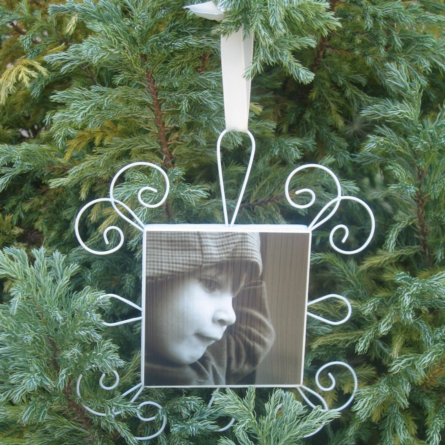 Custom Photo Tree Ornament- Square
