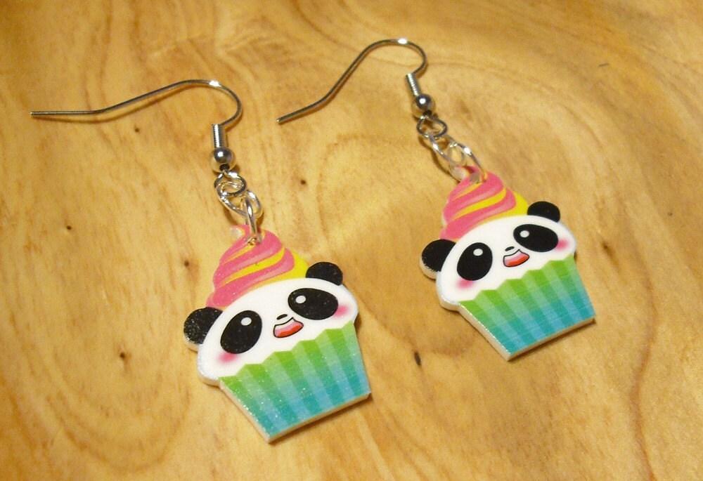 Electric Cupcake Panda Earrings