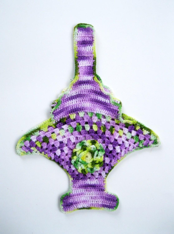 Items similar to Crochet Flower Basket, Soap Holder ...