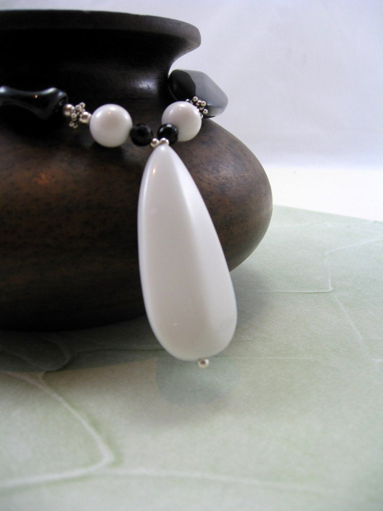 Long Necklace, Monochrome, Black and White Agate Necklace, RiverGum Jewellery