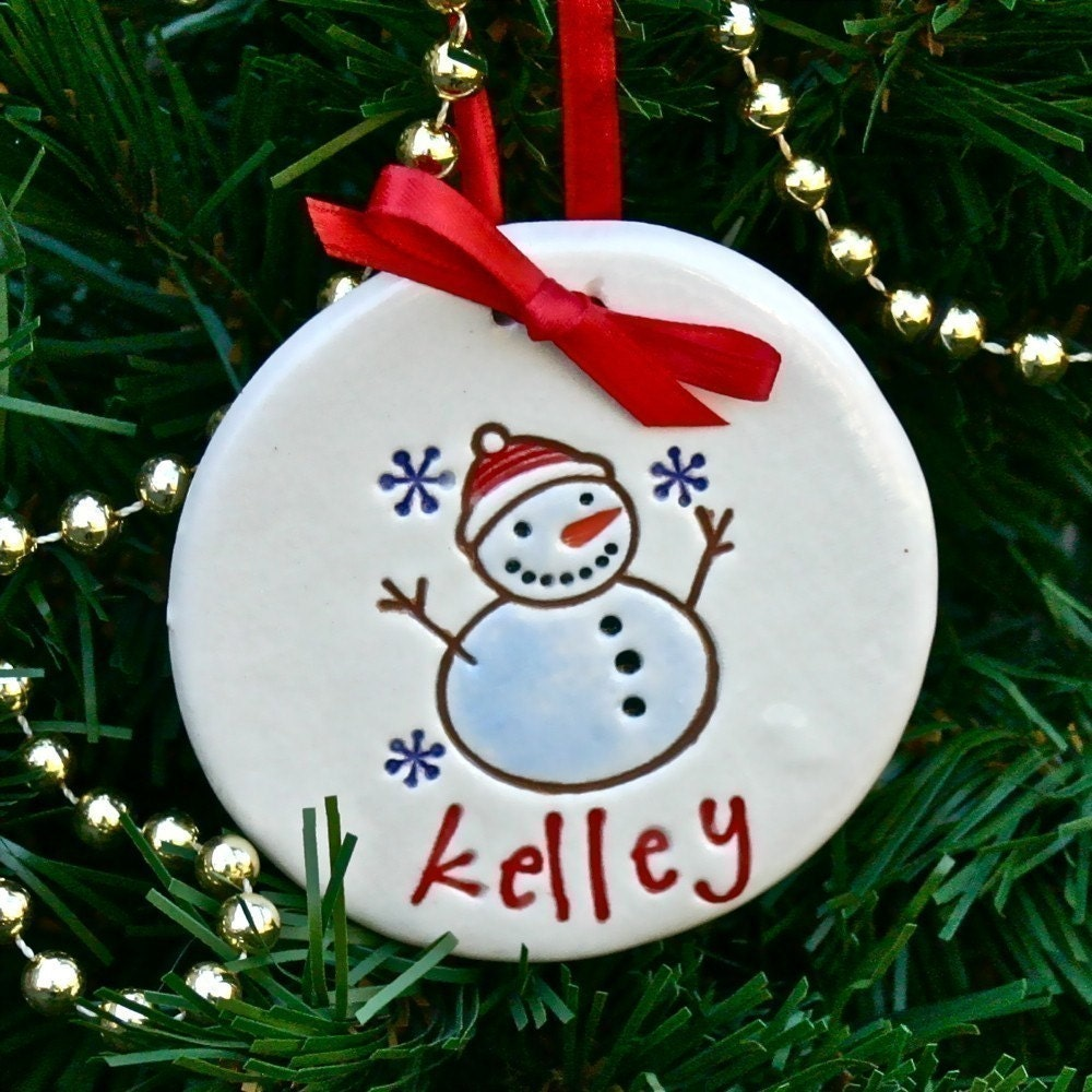 Personalized Snowman Christmas Ornament - Snowman and Snowflakes