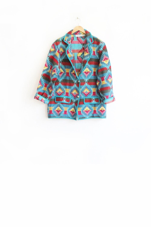 Vintage 90s Southwest Blanket Jacket - Oversized Ethnic Tapestry Coat - L / XL - paisleyfacevintage