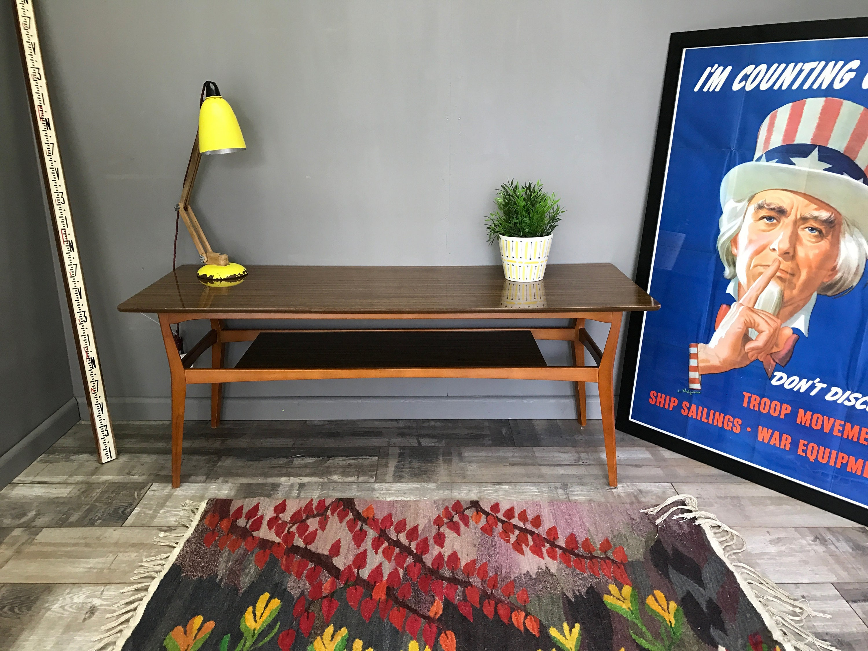 Cool Retro Coffee Table With Magazie Rack Vintage Melamine Side TV Unit Stand