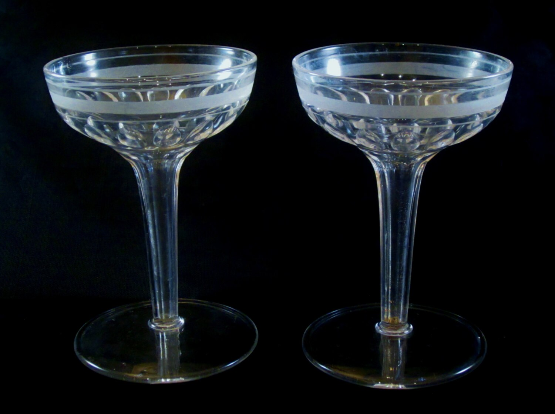 Vintage hollow stem champagne glasses faceted wedding by rearcade - Hollow stem champagne glasses ...