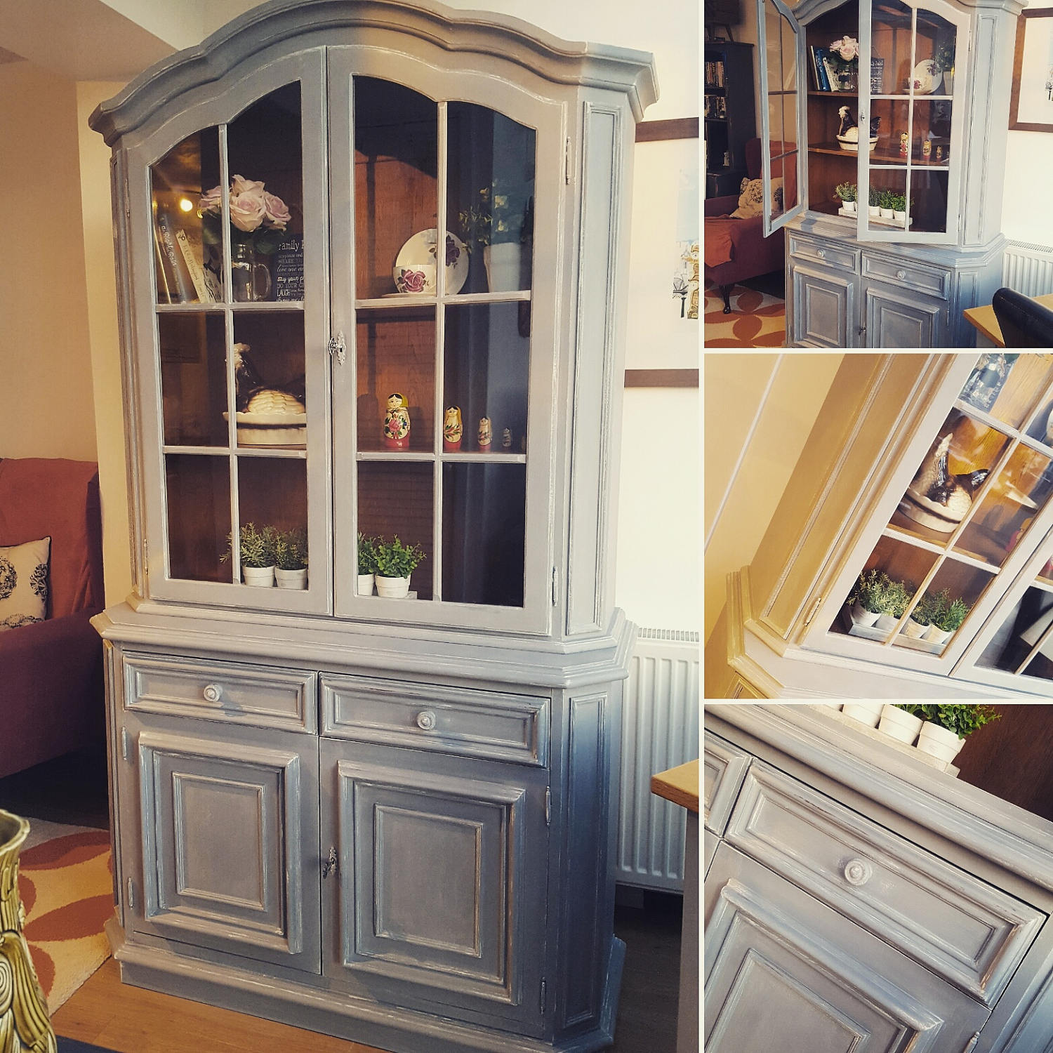 Display cabinet  glass fronted dresser  shabby chic  rustic dresser  cupboard  glass fronted unit  shabby chic vintage