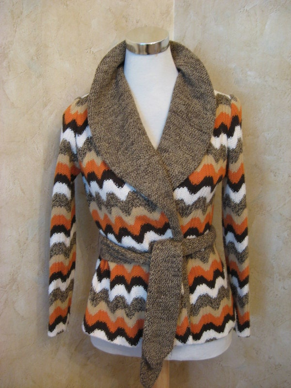 Items similar to Vintage 1970S Starsky and Hutch chunky Knit Cardigan Zig Zag...