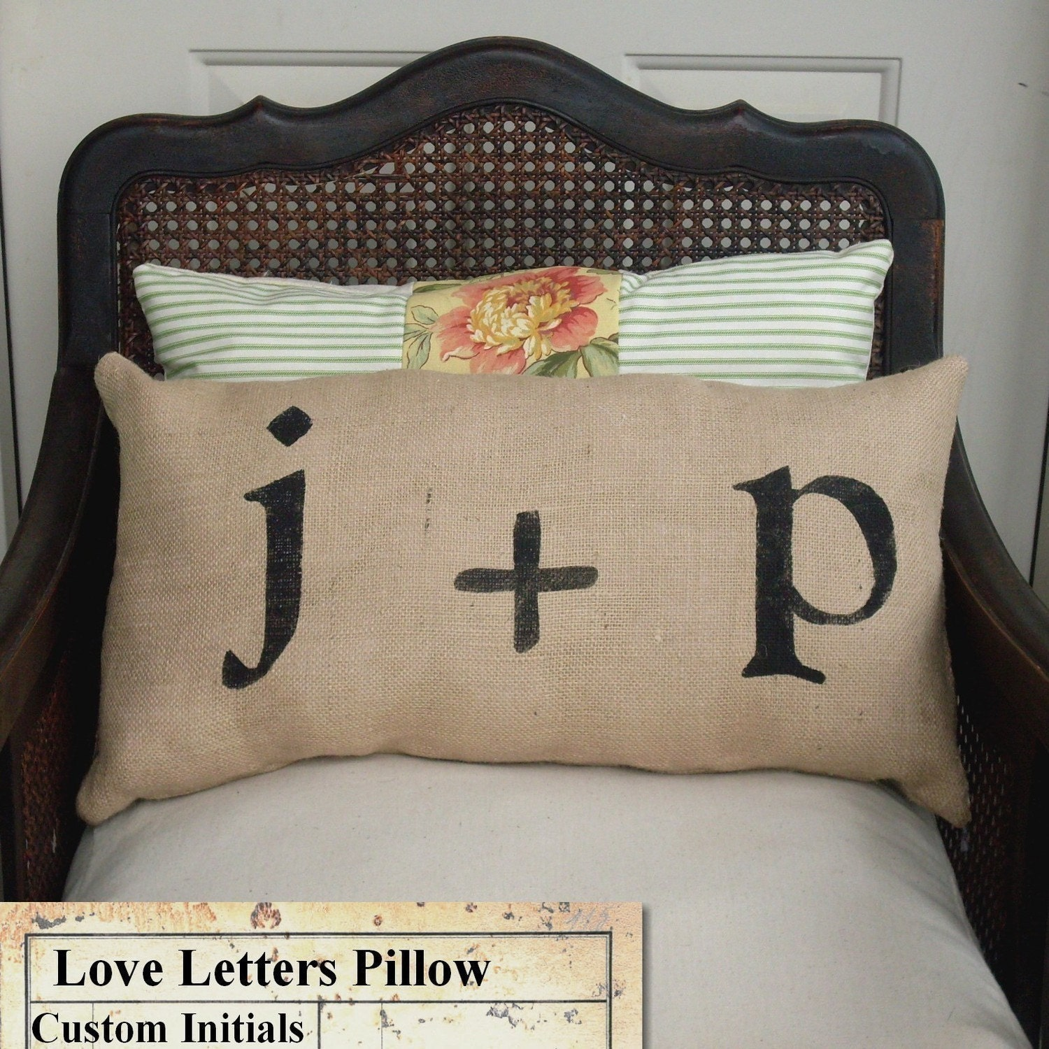 Love Letters - Burlap Feed Sack Pillow - Personalize with you and your sweetie's initial