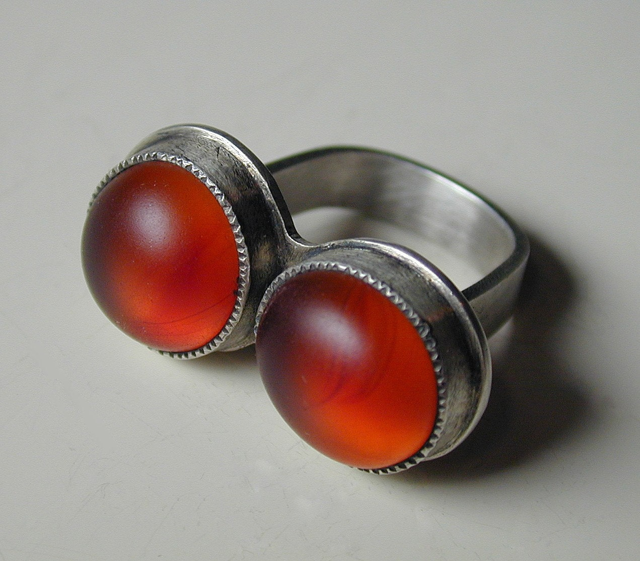 Sterling Silver and Double Glass Ring