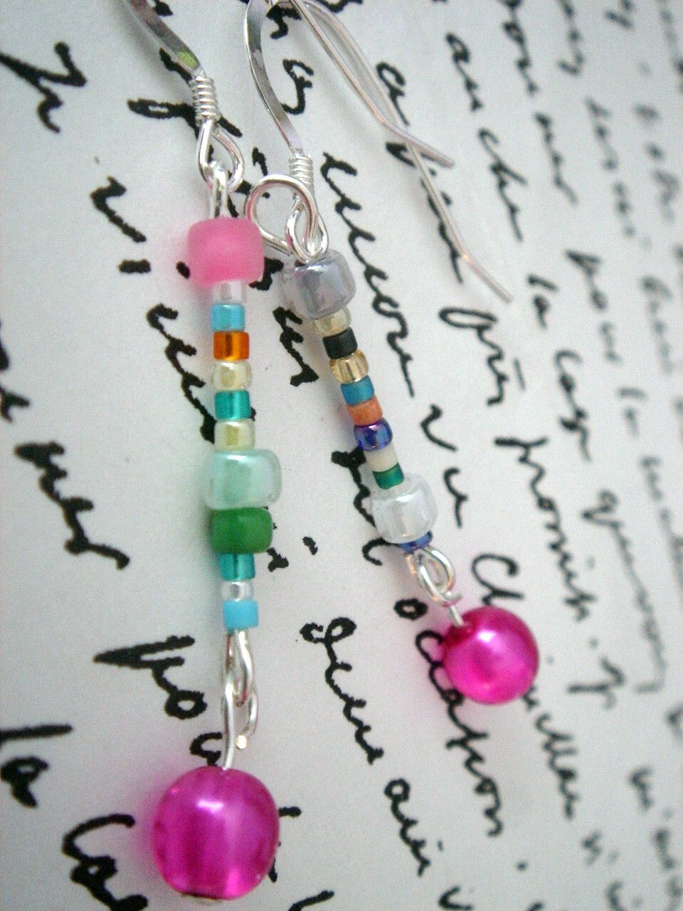 Fun Little Colorful Dangle Earrings pink blue white by SaraRiley from etsy.com