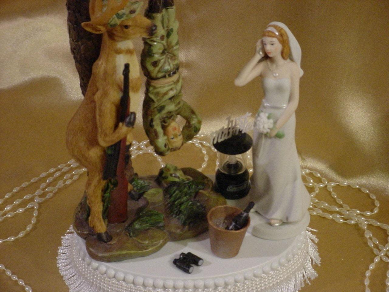 Deer Groom Hunter Camo Groom Wedding Cake Topper Bride On Phone Hunting Redneck HP1