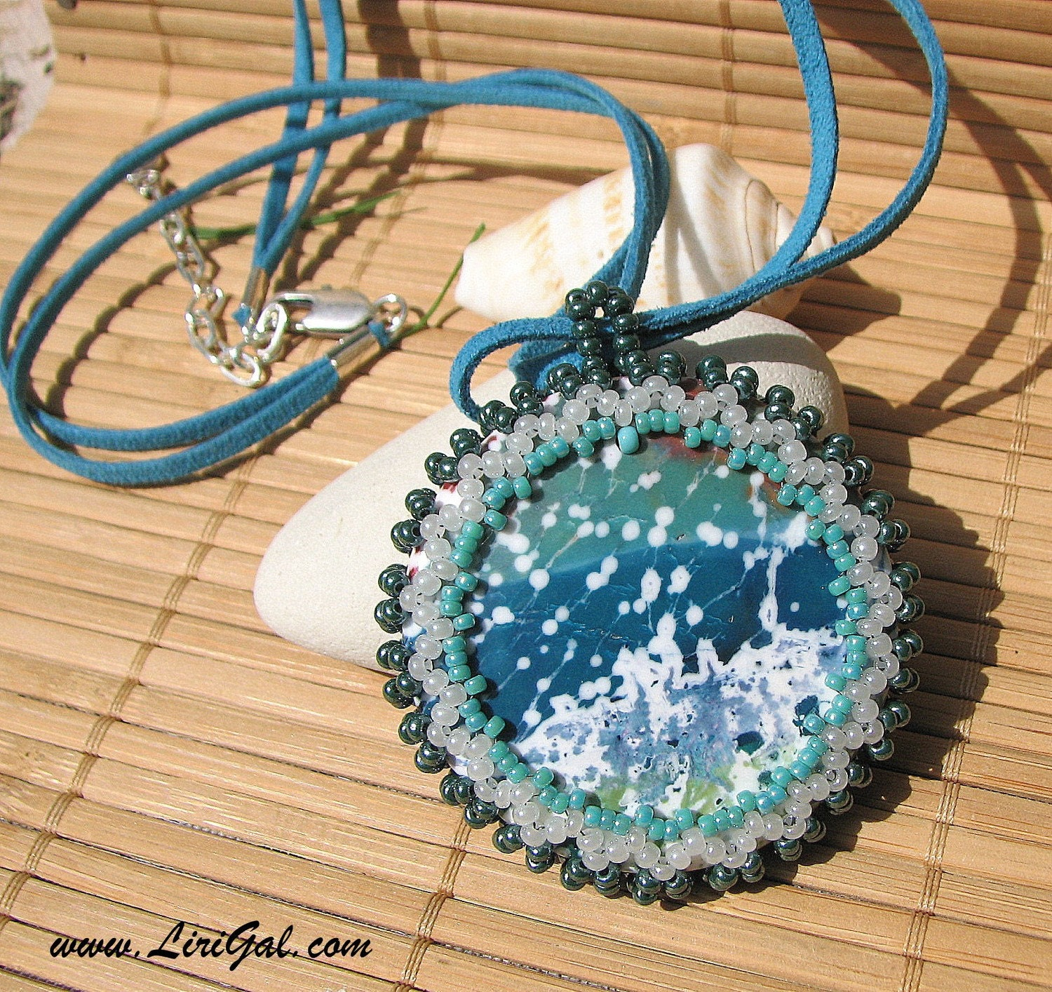 Ocean.Turquoise Jasper Beaded Cabochon Necklace .