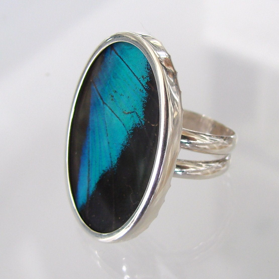 Shimmery Wing - Real Papilio Ulysses Butterfly Wing Ring - Set in Sterling Silver