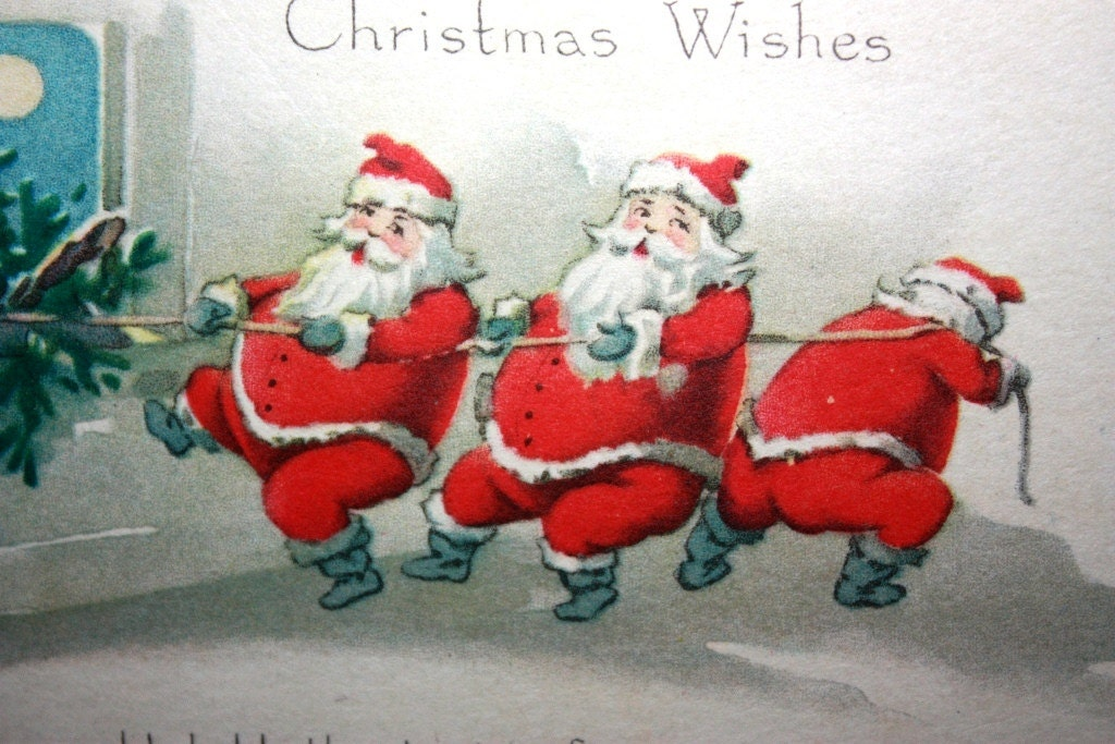 Vintage Postcard with 3 Santa Claus's 1921 Gibson Art Company