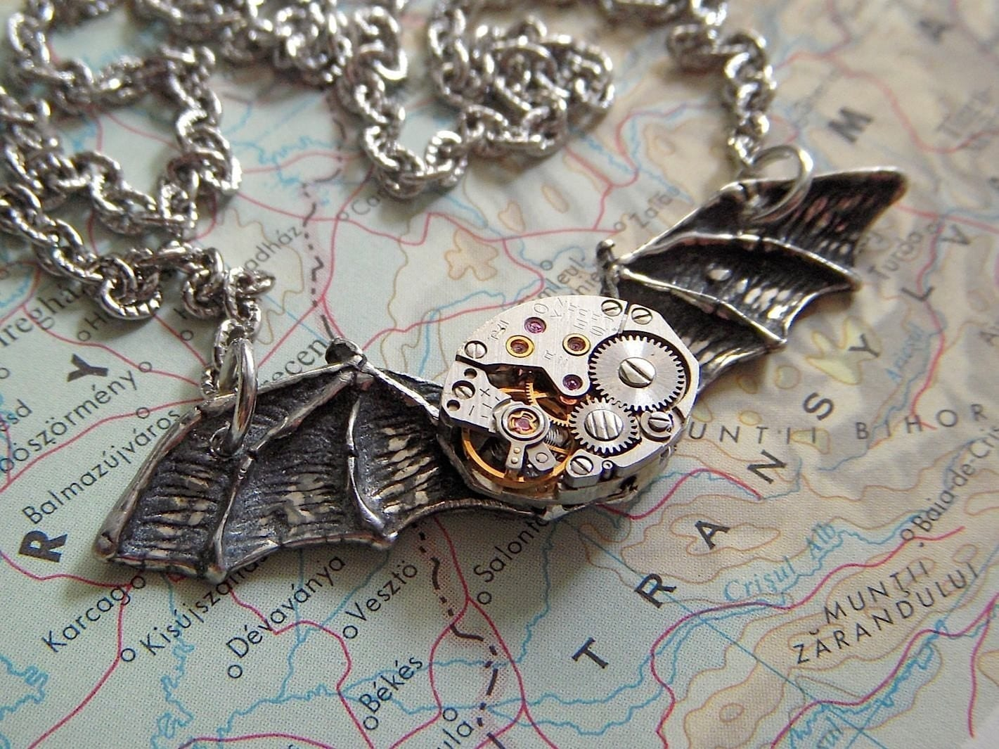 Steampunk Necklace COSMIC BAT WINGS - Gothic Victorian Noir Style - Vintage Watch Movement Silver Plated Chain - Original Design from Cosmic Firefly