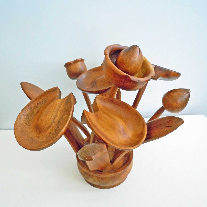Vintage tiki hawaiian wood flowers to benefit by localevintage