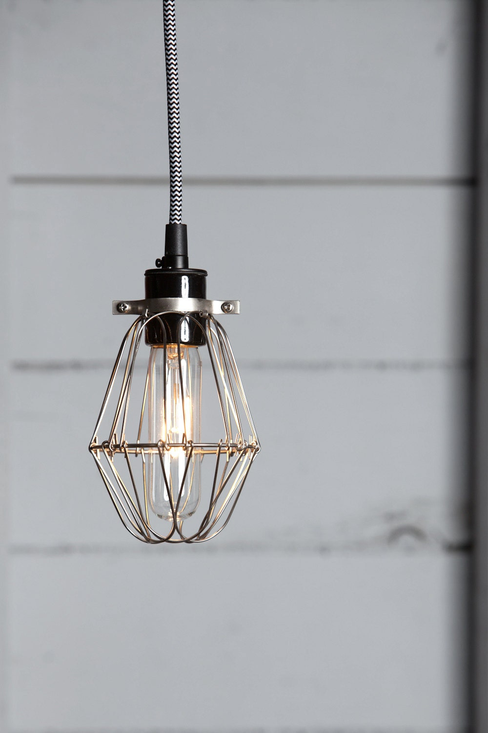 industrial lighting vintage wire cage light pendant by