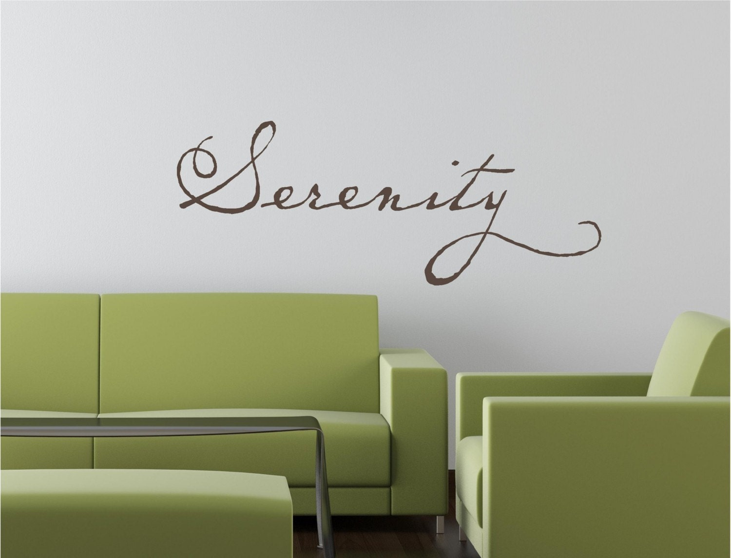 30x12  Serenity Peace Calm Relax Tattoo Vinyl Decor Wall Lettering Words Quotes Decals Art Custom Willow Creek Signs