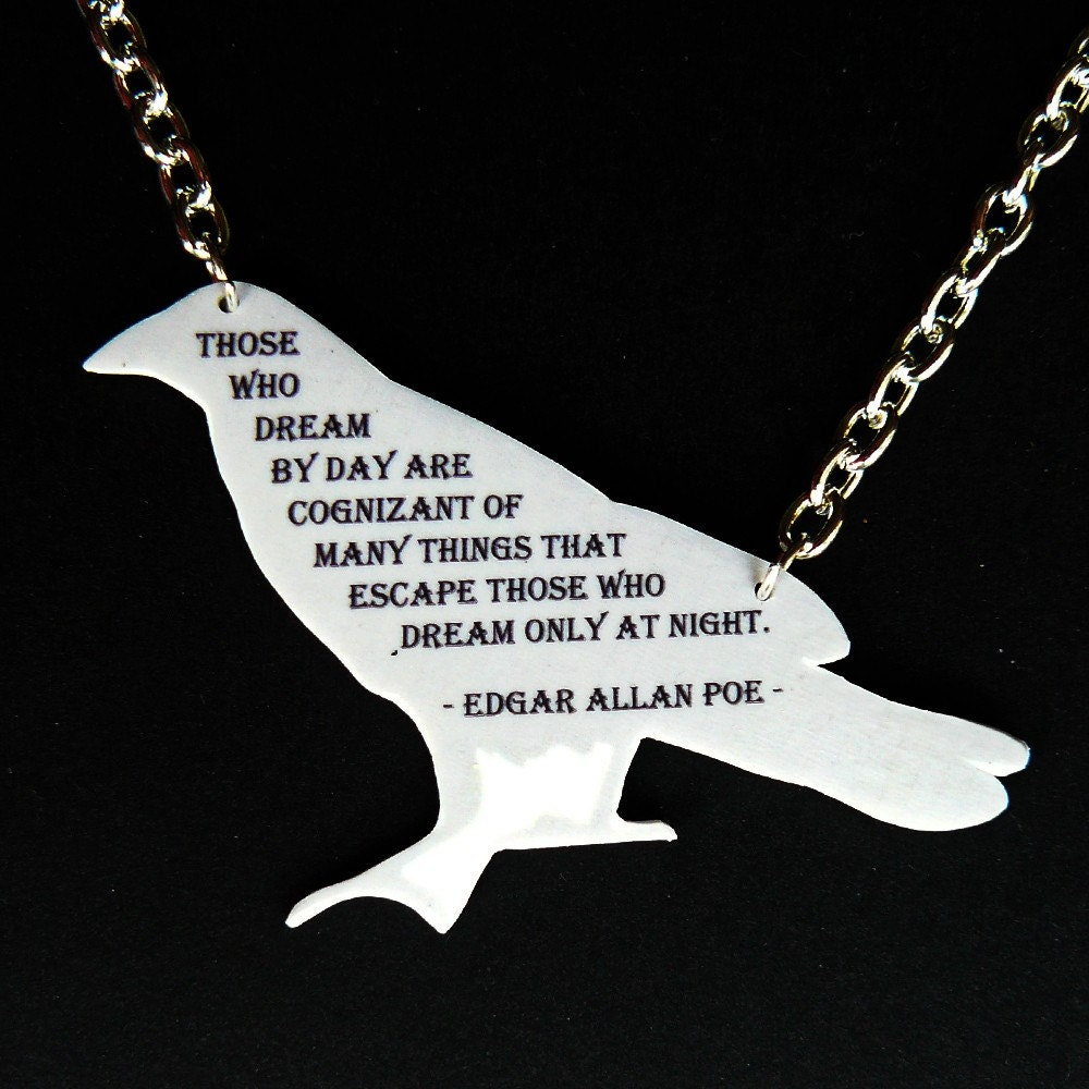 edgar allan poe dreams quote on raven pendant by