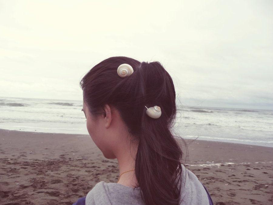 Water Fairy Pearlized Turbo Seashell Bobby Pins Set Of