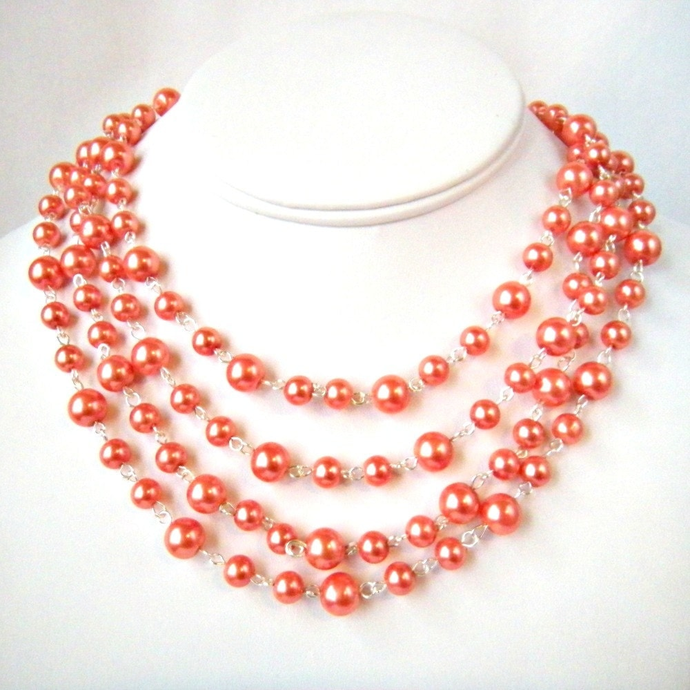Long Pearl Necklace in Coral, Infinity, Long, Beaded Glass Pearl Statement Necklace
