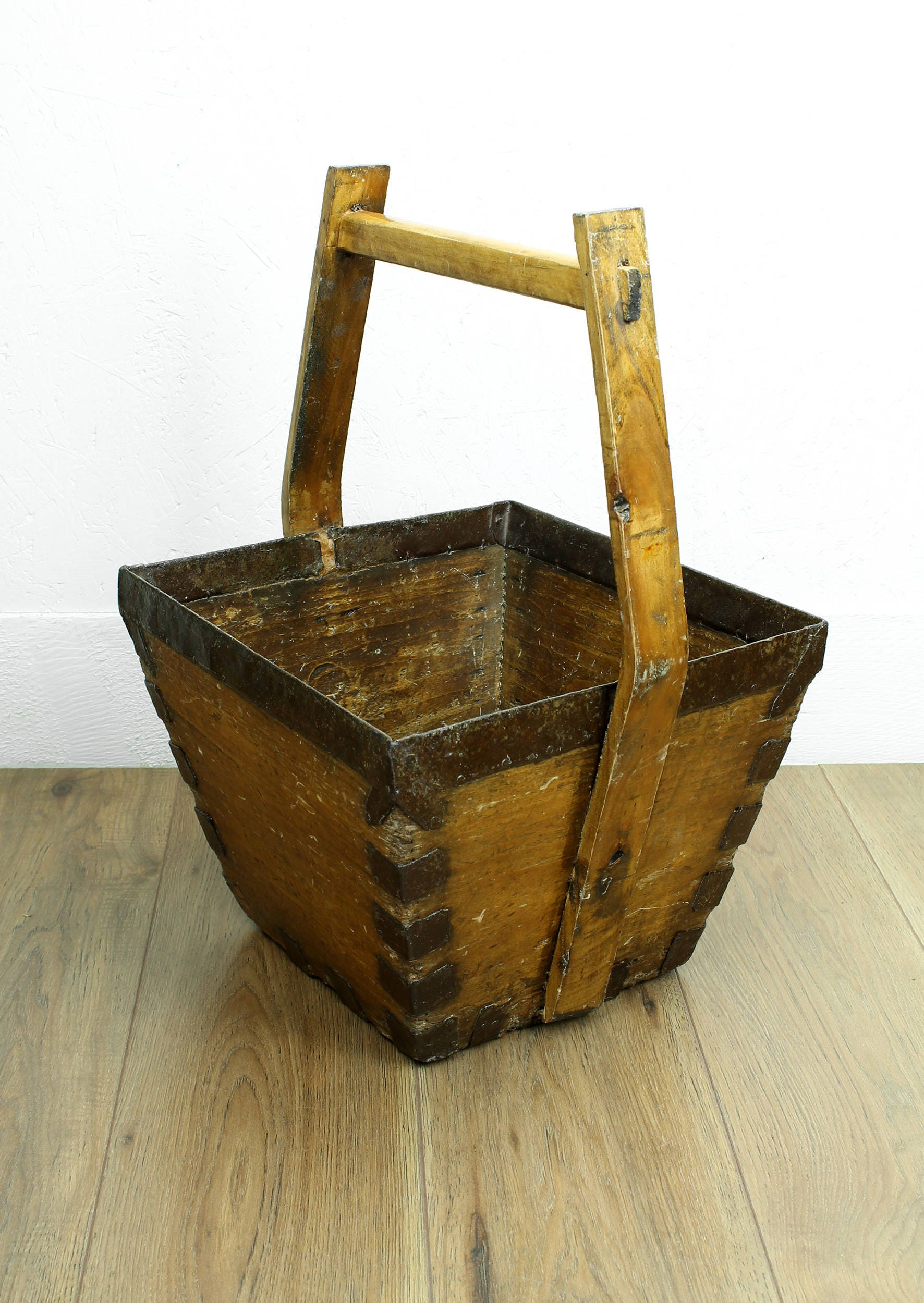 Vintage wooden carrier  wooden bucket  wooden log basket  wooden grain carrier  vintage furniture  rustic furniture