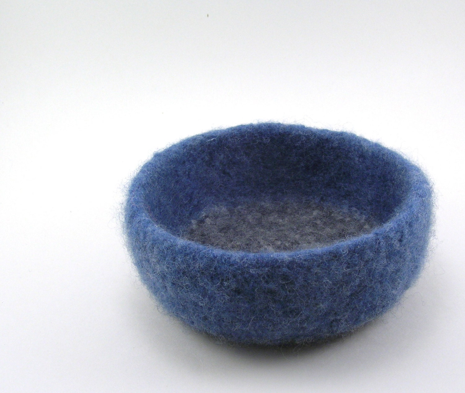 Felted Wool Bowl Medium - denim and dark gray fleck - RuthAndHazel