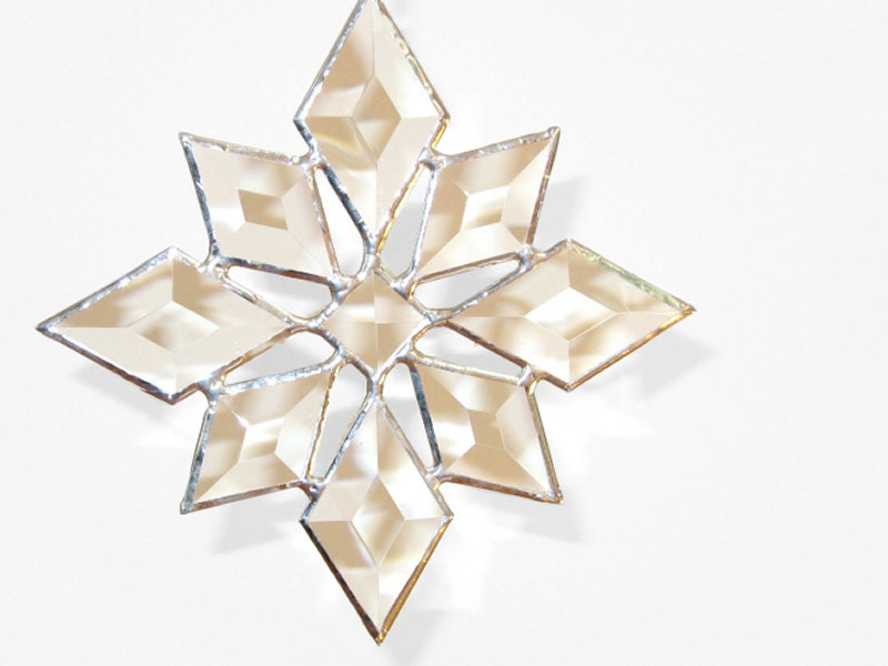 Stained Glass Star Sun Catcher Suncatcher Snowflake Christmas Beveled (9bv Large) Handmade OOAK - FleetingStillness