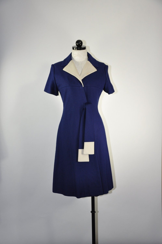 60s navy blue coat dress / vintage 1960s belted short sleeve dress / White On Blue dress - QuietUnrest
