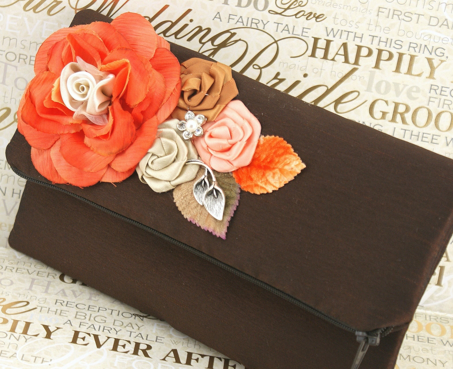 Chocolate and coral wedding