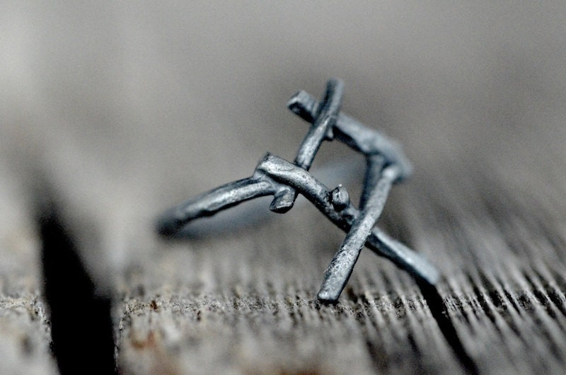 OTHALA Rune Ring, sterling silver twigs - Heritage, Ancestral Home - redsofa