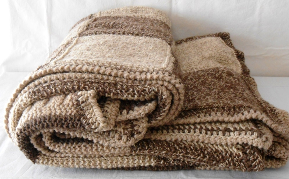 Handknitted Chunky Double blanket in Natural Alpaca  - double bed blanket - cosediisa