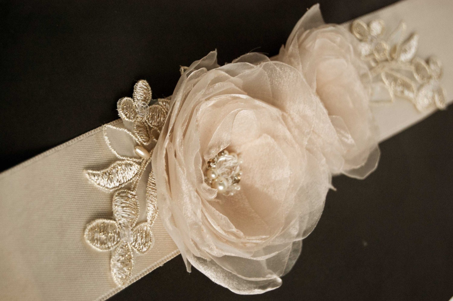 Wedding Dress Sashes with Flowers
