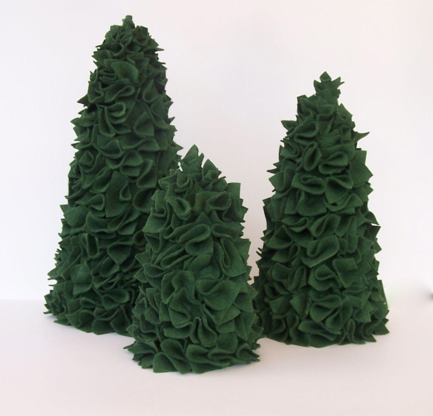 Wool Felt Christmas Trees - Set of Three