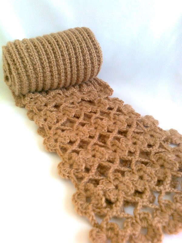 Camel floral scarf