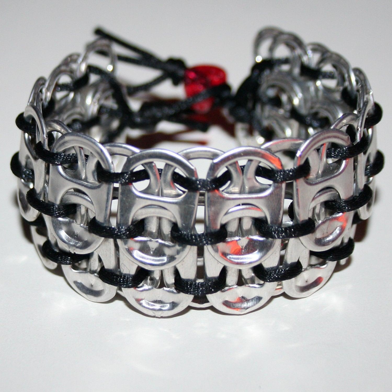 black pop can tab cuff bracelet with glitter by