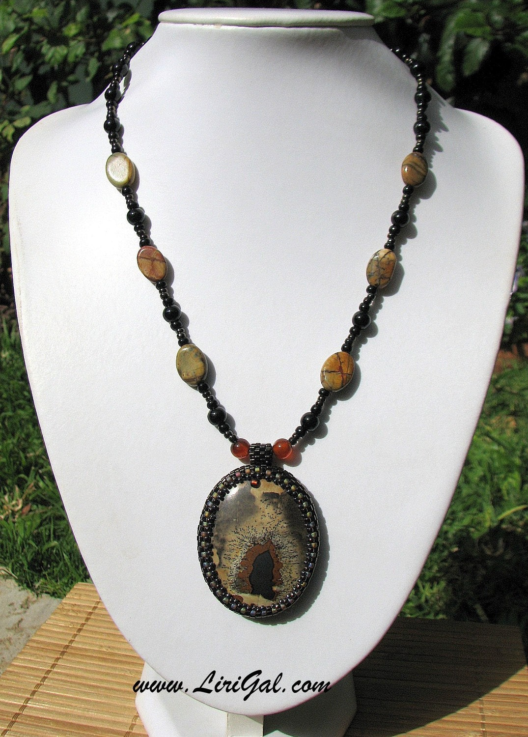 Mysterious Cave.Jasper Beaded Cabochon Pendant