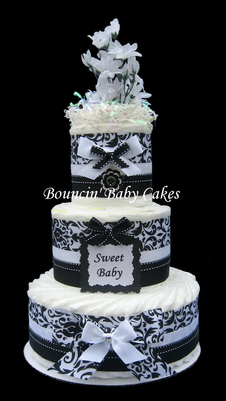 Black and white damask baby shower diaper cake by tmomma4 on etsy
