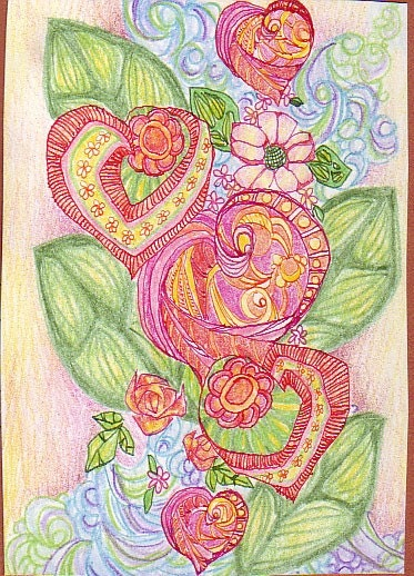 Valentine Flowers, Aceo, original ink and color pencil illustration