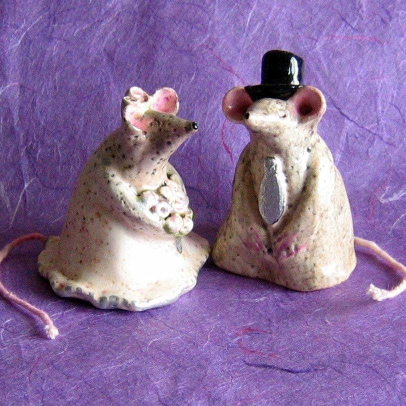 Mice CakeTopper Ceramic Bride and Groom