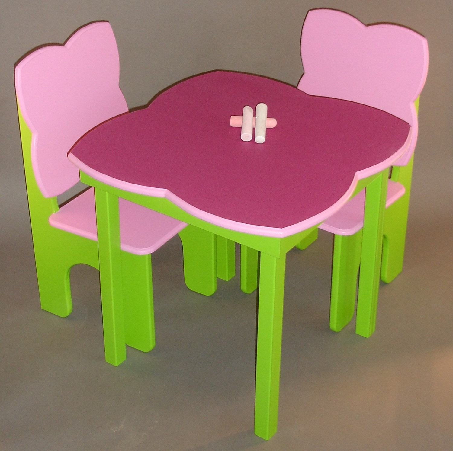Childrens Table and Chairs with Flower Chalkboard Top